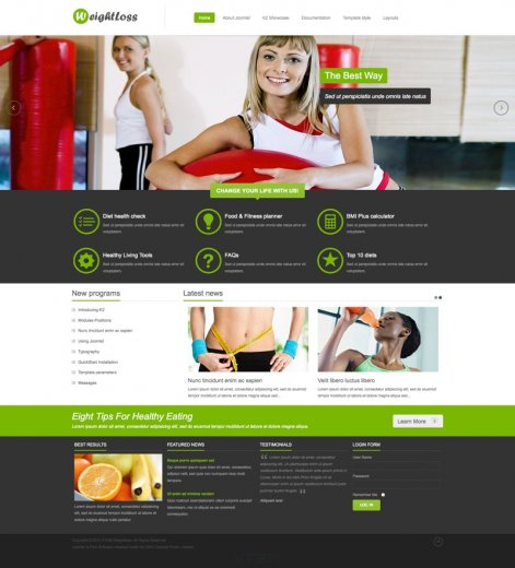 Фитнес шаблон VT WeightLoss со слайдером (Joomla 2.5, 3.0)